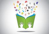 Fotografia mano che tiene il libro aperto con volante alfabeti n punto interrogativo. due piccole mani umane o bambini tenendo un verde studiano libro con alfabeto e punto interrogativo - illustrazione di concetto di istruzione di volo