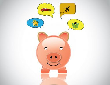 Happy piggybank planning to buy home car education and travel. glossy pink piggy bank day dreaming of investing the savings into car, house, higher education and world travel - investment concept