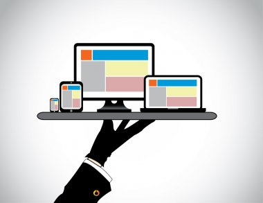 Hand presenting desktop computer laptop tablet & smart phone. website template on pc computer laptop tab & smartphone being presented by a professional man in a tray - concept illustration