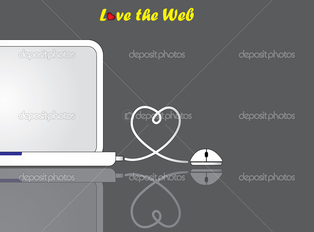 Notebook laptop and mouse with love shaped wire connection ... on