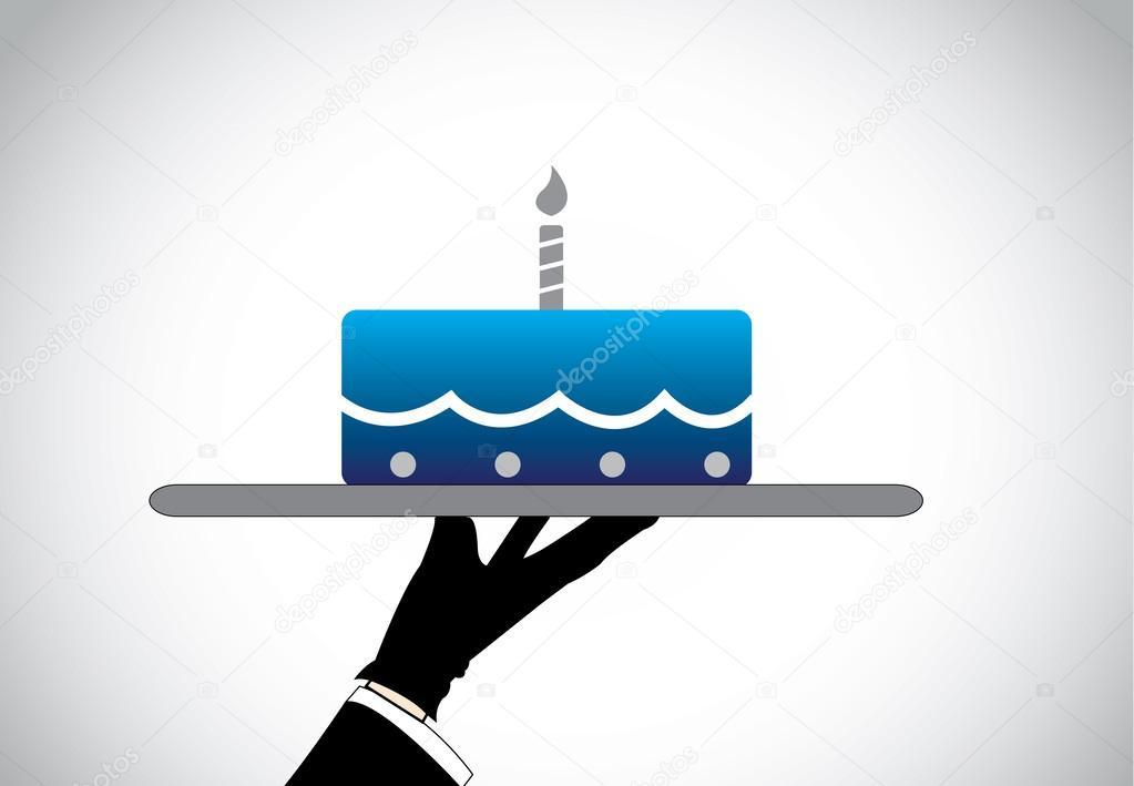 överraskning födelsedag hand silhuett presentera överraskning födelsedag blå gräddbakelse  överraskning födelsedag