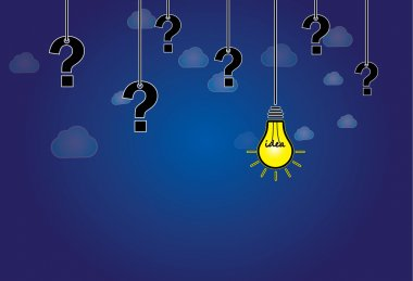 Question mark & bright yellow light bulb with idea text hanging. dark blue night sky with white clouds background with glowing lightbulb solution and question marks hanging along side - abstract art