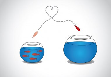 Alert young fish escaping from crowded small glass bowl to big.  a smart red happy fish jumping from a small a glass tank with blue water to a big one - passion risk taking concept illustration art