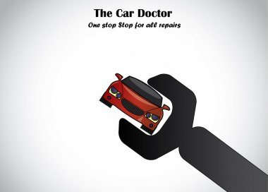 Auto Car repair company solution spanner image concept design. A big black spanner fixing a red color beautiful car illustration art