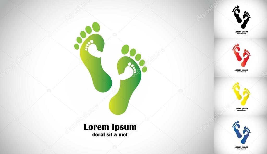 pasos de pie verde lleva camino ecológico al bebé. conjunto de pasos ...