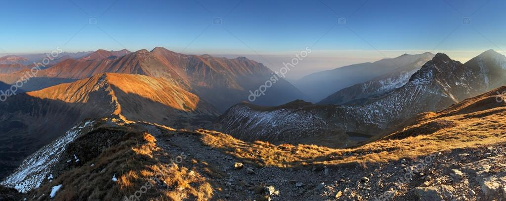 Mountain panorama from peak Volovec in West Tatras - Rohace , Sl
