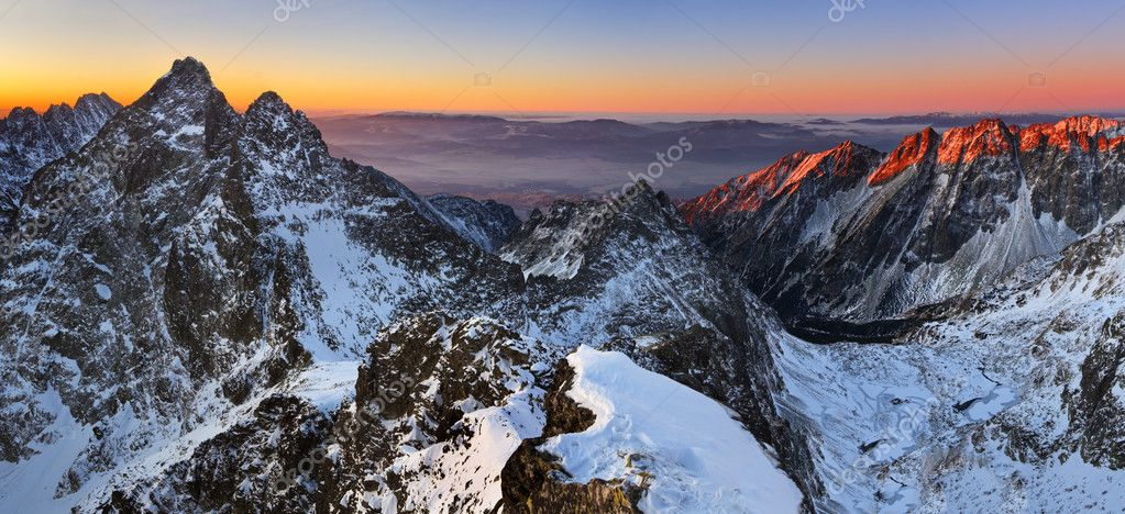 Sunrise in High Tatras - Slovakia Photo from mountain - Rysy