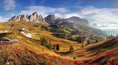 Mountain panorama in Italy Alps dolomites - Passo Gardena