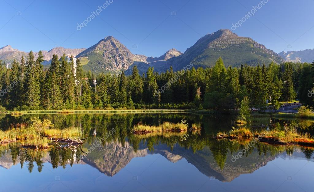 Spring natural Lake in Slovakia Tatra mountain