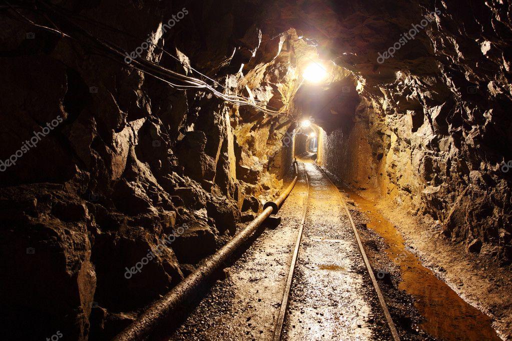 Mine With Railroad Track Underground Mining Stock Photo