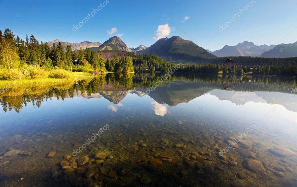 Nature mountain scene with beautiful lake in Slovakia Tatra - St