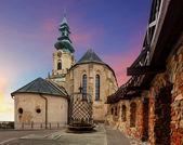 Slovensko - nitra hradu při západu slunce