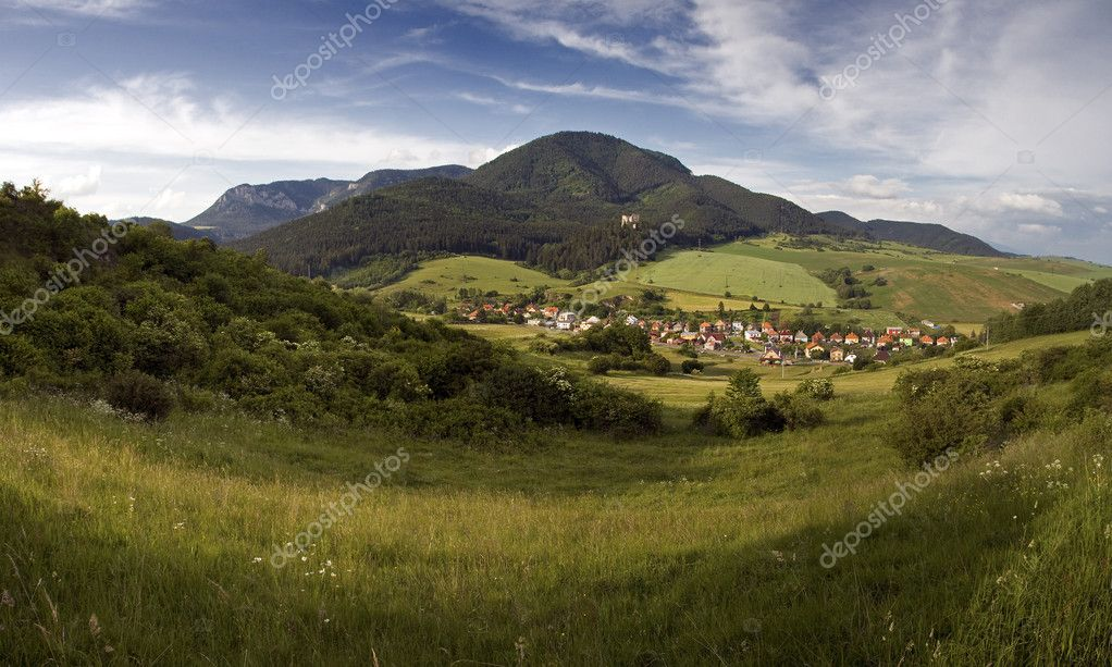 Idyllic village ( Likavka ) in Mountains in beautiful region Lip