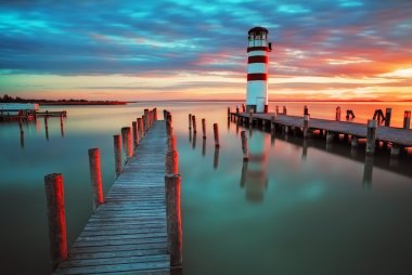 Lighthouse at Lake Neusiedl at sunset stock vector