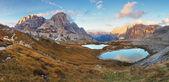 Fotografie krásné horské s jezera - Itálie Alpy Dolomity - tre cime - lago伊斯坦布尔-蓝色清真寺-剪影