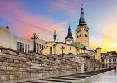 Fotografie Zilina street - Trinity Cathedral, Slovakia