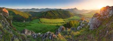 Spring Mountain sunset panorama in Slovakia