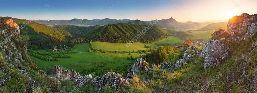 Spring Mountain sunset panorama in Slovakia