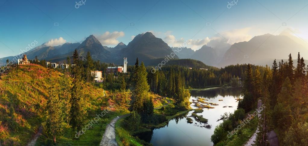 Slovakia mountain lake in High Tatra - Strbske pleso - panorama
