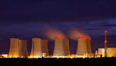 Nuclear power plant by night