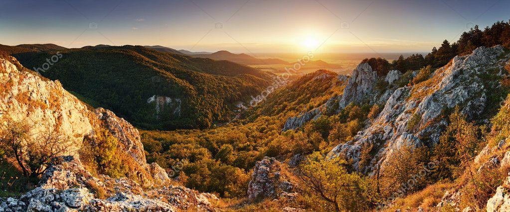 Nature mountain sunset - panoramic