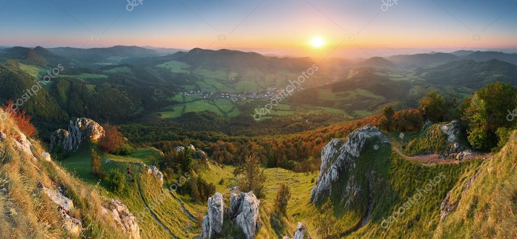 Landscape with rocky mountains at sunset in Slovakia - Eastern E