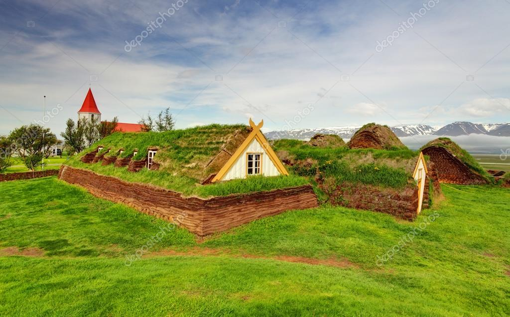 Lawn covering house, iceland original buildings