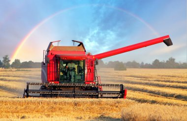 Harvester machine with rainbow