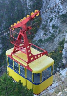 Yellow vagon of the ropeway