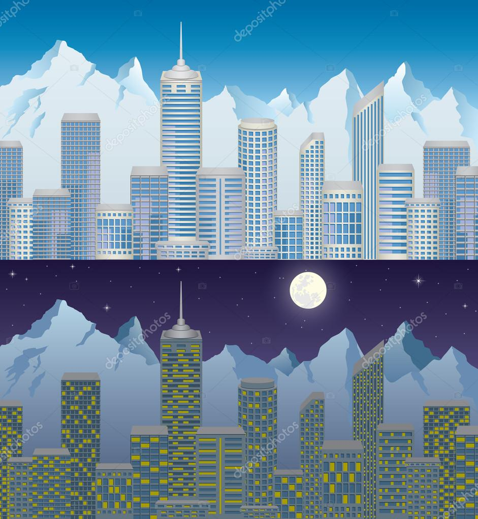 City in mountain at day and night