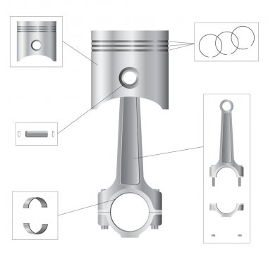 Piston and connecting rod parts
