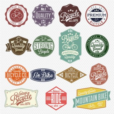 Vintage Frame With Bicycle Labels Set Template stock vector