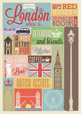 Retro style poster with London symbols and landmarks