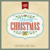 Vintage Christmas Background With Typography, Card Or Invitation