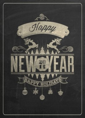 Vintage New Year Background With Typography On Blackboard With Chalk