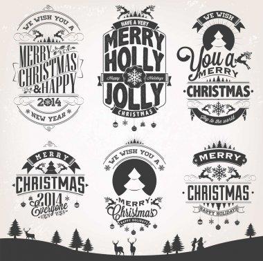 New Year Retro Icons, Elements And Illustration Set