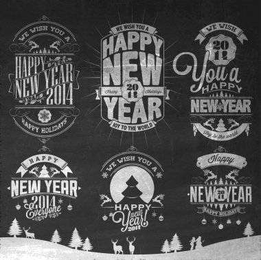 Christmas Retro Icons, Elements And Illustration Set On Blackboard With Chalk