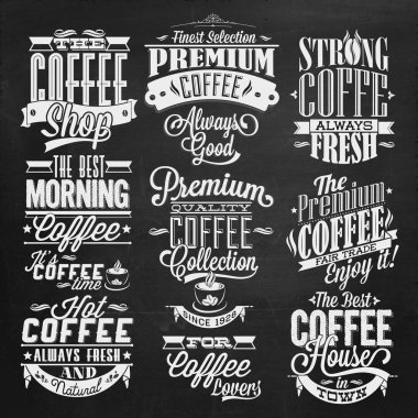 Set Of Vintage Retro Coffee Labels On Chalkboard . Coffee decoration collection. Set of calligraphic and typographic elements styled design, frames, vintage labels. Vector. stock vector