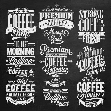 Vintage Retro Coffee Labels On Chalkboard