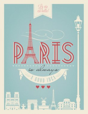 Typographical Retro  Poster With Paris Symbols