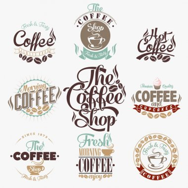 Set Of Vintage Retro Coffee Labels.