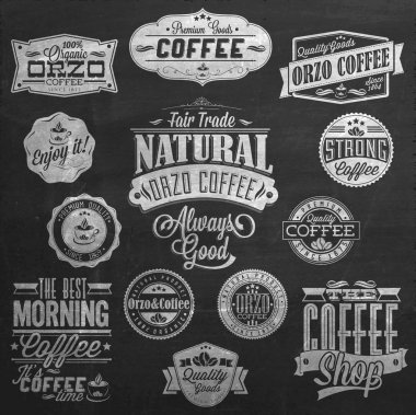 Vintage Coffee Labels On Chalkboard