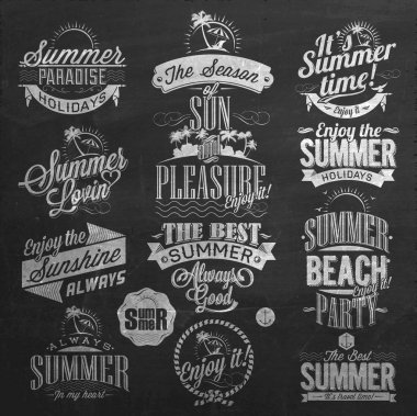 Summer Calligraphic Elements On Chalkboard.