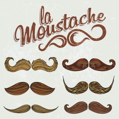 Colorful Hand Drawn Mustache Set
