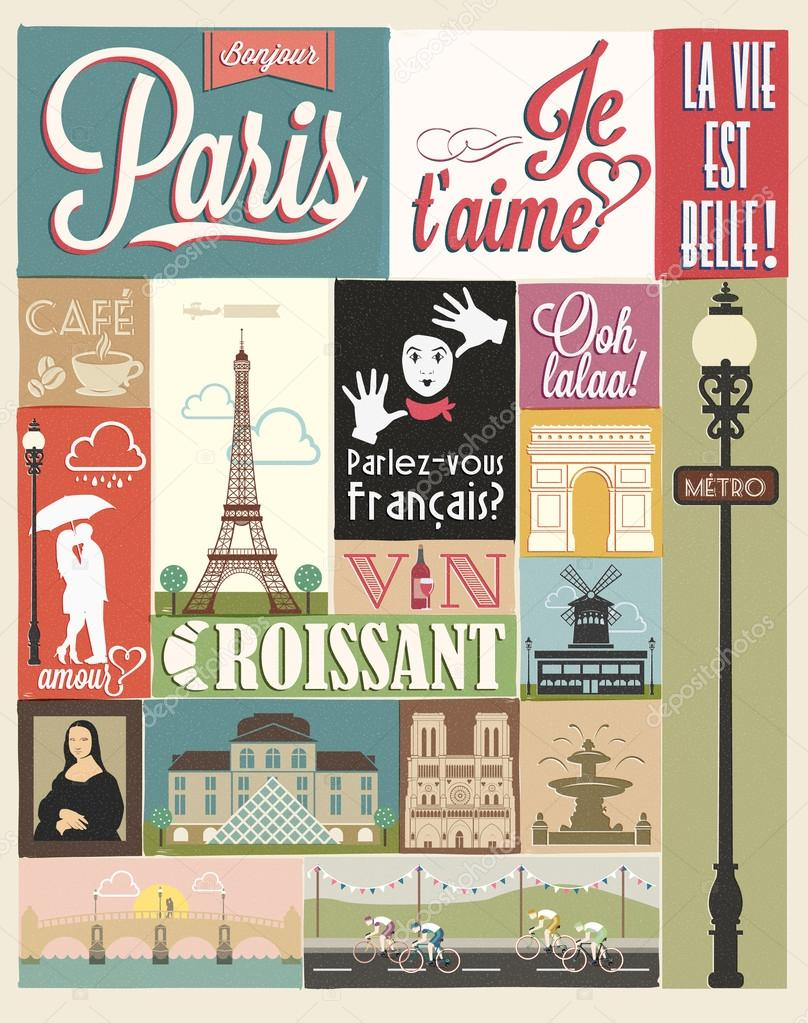 Retro Poster With Paris Symbols And Landmarks — Stock Vector ...