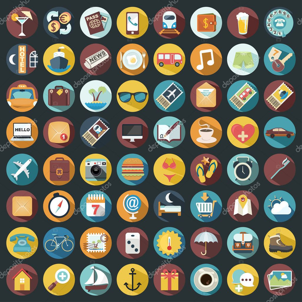 Flat Quality Travel Map Icons