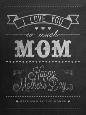 Happy Mother's Day Background On Blackboard