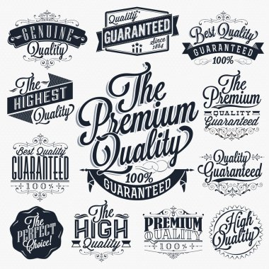Set of Vintage Premium Quality Stickers And Elements stock vector