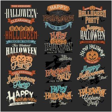 Halloween Calligraphic Designs VIntage Vector Set