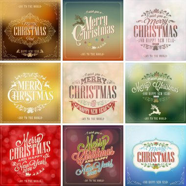 New Year Retro Icons, Elements And Illustration Set clip art vector